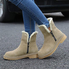 Femmes Suède Talon bas Bottes mi-mollets Bottes neige avec Zip chaussures