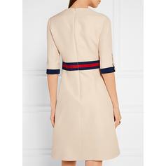 Striped 1/2 Sleeves A-line Knee Length Casual/Elegant Dresses