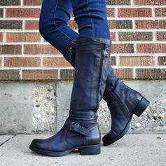Women's PU Low Heel Mid-Calf Boots With Buckle Zipper shoes