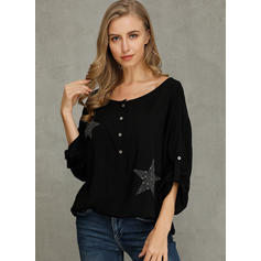 Solid Sequins V-Neck 1/2 Sleeves Button Up Casual Blouses