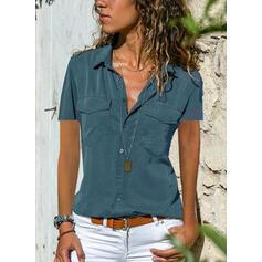 Solid Lapel Korte ærmer Button-up Casual Elegant Skjortebluser