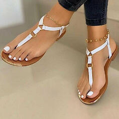 Women's PU Flat Heel Sandals Flats Flip-Flops With Buckle shoes