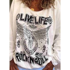 Print V-Neck Long Sleeves Casual Knit T-shirt