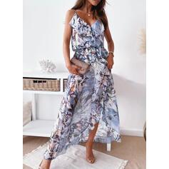 Print/Floral Sleeveless A-line/Asymmetrical Casual Slip/Skater Dresses