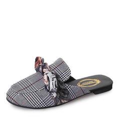 Women's Cloth Flat Heel Flats Closed Toe Slingbacks Slippers With Bowknot shoes