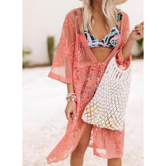 Solid Color Mesh V-Neck Sexy Attractive Cover-ups Swimsuits