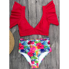 Tropical Print V-neck Sexy Bikinis Swimsuits