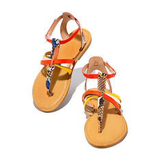 De mujer PU Tacón plano Sandalias Encaje con Hebilla Material Block zapatos