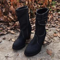 Kvinner PU Stor Hæl Pumps Støvler Mid Leggen Støvler med Glidelås sko