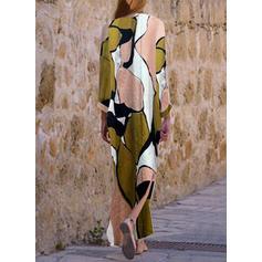 Print V-neck Maxi Shift Dress