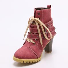 Mulheres PU Salto robusto Bombas Fechados Botas com Fivela Aplicação de renda sapatos