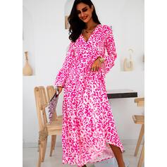 Print Long Sleeves/Flare Sleeves Shift Casual/Vacation Maxi Dresses