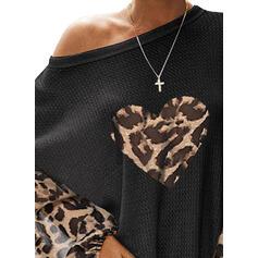 Stampa leopardo Cuore Una spalla Maniche lunghe Casuale Maglieria Camicie