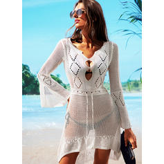 Solid Color V-Neck Sexy Cover-ups Swimsuits
