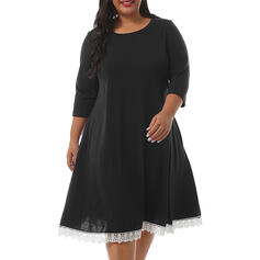 Lace/Solid 3/4 Sleeves A-line Knee Length Casual/Plus Size Dresses