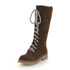 Women's Suede Low Heel Boots Knee High Boots With Lace-up shoes