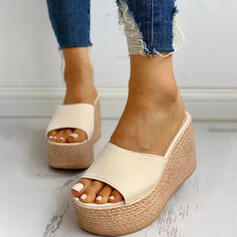 Women's Suede Wedge Heel Sandals Wedges Peep Toe Slippers Heels shoes