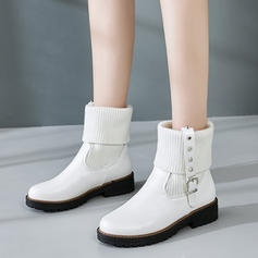 Women's Leatherette Low Heel Pumps Boots Mid-Calf Boots With Rivet Buckle shoes