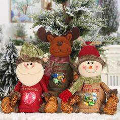 Merry Christmas Snowman Reindeer Santa Gift Bag Linen Apple Bags
