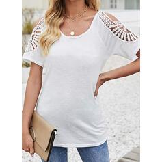 Einfarbig Schulterfrei Kurze Ärmel T-Shirts