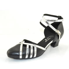 Women's Ballroom Heels Pumps Real Leather With Ankle Strap Ballroom