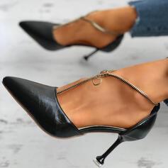 Женский PU Стилет каблук Насосы с Молния Сплошной цвет обувь
