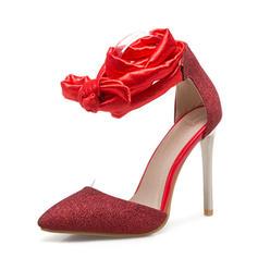 Femmes Tissu Talon stiletto Sandales Escarpins Bout fermé avec Dentelle chaussures