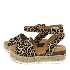 Women's PU Wedge Heel Sandals Wedges Peep Toe Heels With Animal Print shoes