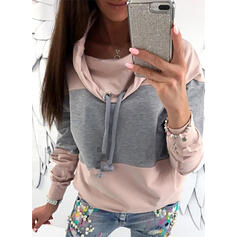 Color Block High Neck Long Sleeves Sweatshirt