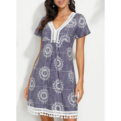 Print Short Sleeves Shift Above Knee Casual/Boho/Vacation Dresses