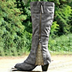 Women's PU Chunky Heel Pumps Closed Toe Boots Knee High Boots With Zipper shoes