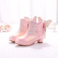 Flicka Stängt Toe Boots Microfiber läder låg klack Stövlar Flower Girl Shoes med Bowknot