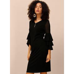 Solid 3/4 Sleeves Sheath Knee Length Little Black/Party Dresses