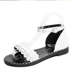 Women's Leatherette Flat Heel Sandals Flats Peep Toe With Beading Rivet shoes