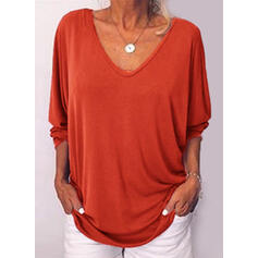 Solid V-Neck Long Sleeves Button Up Casual T-shirts