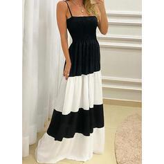 Color Block Sleeveless A-line Slip/Skater Casual Maxi Dresses