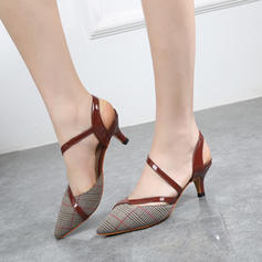 Women's Fabric PU Stiletto Heel Sandals Closed Toe Slingbacks With Others shoes