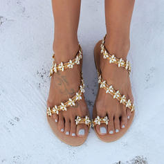 Women's PU Flat Heel Sandals Flats With Applique shoes