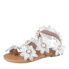 Women's Leatherette Flat Heel Sandals With Flower shoes