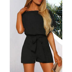 Solid Round Neck 1/2 Sleeves Casual Romper