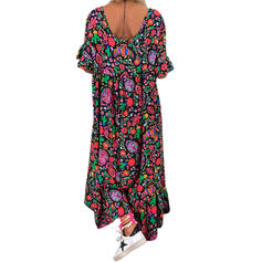 Estampado 1/2 Manga Shift Maxi Casual Vestidos