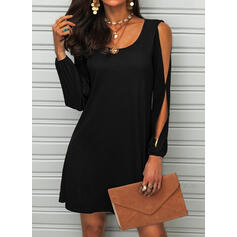 Solid Long Sleeves/Split Sleeve Shift Above Knee Little Black/Casual Dresses