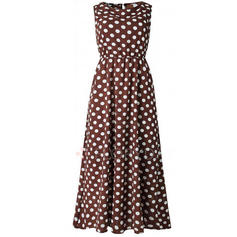 PolkaDot Sleeveless A-line Casual/Vacation Midi Dresses