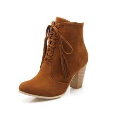 Femmes Suède Talon bottier Bottines Martin bottes avec Tassel Lanière tressé chaussures
