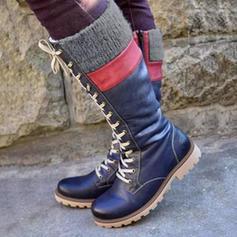 Donna PU Tacco spesso Stivali altezza media con Allacciato scarpe
