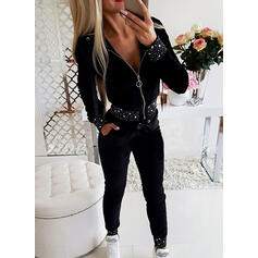 Solid Sequins Casual Sporty Suits