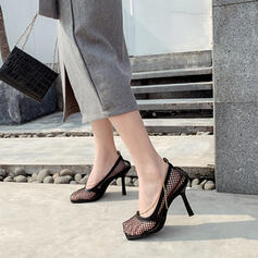 Women's PU Stiletto Heel Pumps Square Toe With Hollow-out shoes