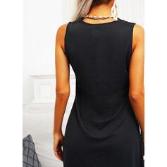Jednolity Bez Rękawów Nad kolana Mała czarna/Nieformalny Sukienki