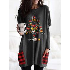 Wydrukować krata Στρογγυλός λαιμός Μακρυμάνικο Χριστουγεννιάτικο μπλουζάκι