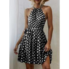 PolkaDot Sleeveless A-line Knee Length Casual/Vacation Dresses